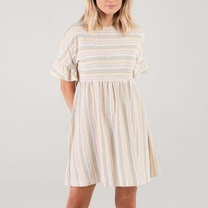 NWT RYLEE + CRU Carnival Striped Babydoll Dress